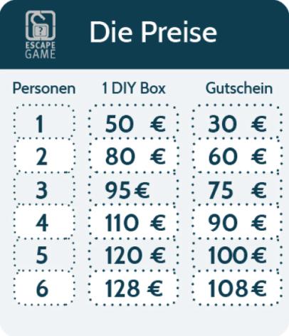 Preise Escape Game Gutschein und DIY Box